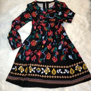 Loft colorful floral stretchy long sleeve dress